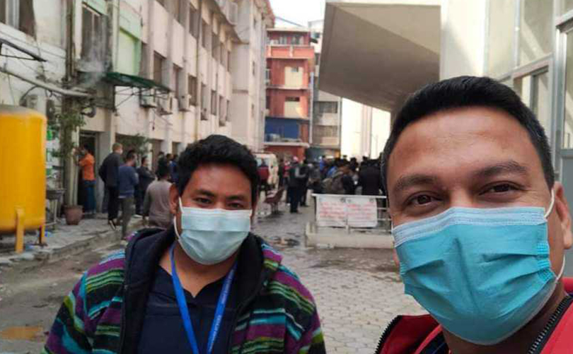 Himalayan Glacier Staff clicking a photo after vaccination at the government-designated hospital