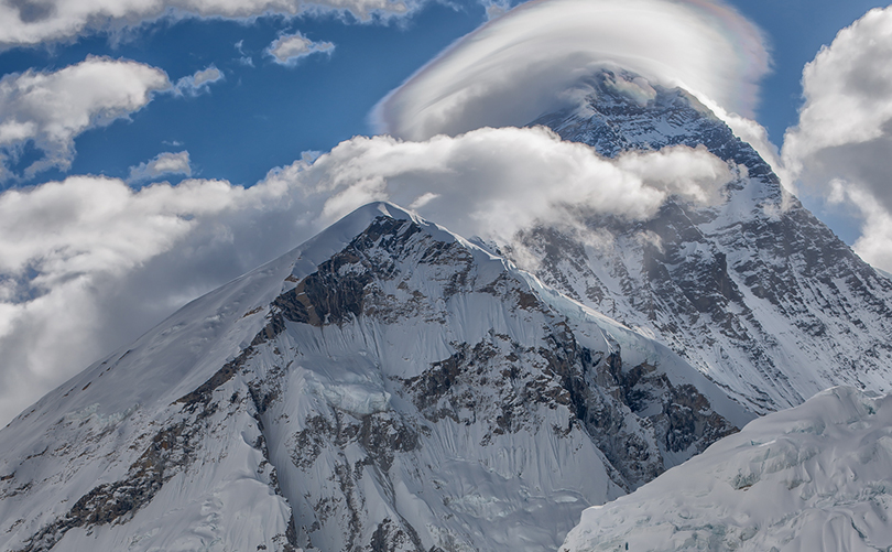 Rare view of Mount Everest hidden in clouds
